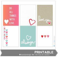 Love Printable Cards by Blue Star Design by Two Peas @Kari Jones Jones Jones alissa Peas in a Bucket