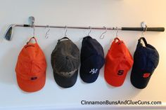 Turn a golf club into a hat rack. I think that we will mount it onto a piece of wood rather than : Turn a golf club into a hat rack. I think that we will mount it onto a piece of wood rather than Baseball Hat Racks, Baseball Display, Baseball Boys, Cowboy Hat Rack, Club Furniture, Furniture Ideas, Handmade Furniture, Bathroom Furniture, Furniture Design