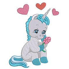 Valentine Unicorns embroidery design collection is digitised for the inch hoop x and is available in ART DST EXP HUS JEF PES VIP and XXX formats.