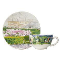 Gien - 'De Paris à Giverny' Collection - Cafe au Lait Cups/Saucers, s/2