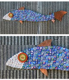 Fish art with bottle caps! This would be a fun kids art project...