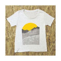 GOOD MORNING scoop tee. natural. sunrise shirt. mountain t-shirt.