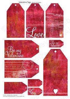 Valentine Love Tags Collage Embelishment Sheet  by Deborah Dey - Ainjewelz