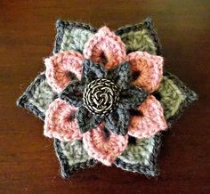 Crochet Brooch idea using my free flower patterns in this set ~ by Elvira Jane. In addition, I have slip stitched (back loop only) around the edge of the larger flower. Crochet Brooch, Freeform Crochet, Crochet Motif, Love Crochet, Knitted Flowers, Crochet Flower Patterns, Crochet Designs, Fabric Flowers, Yarn Projects