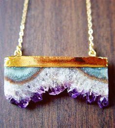 Amethyst Stalactite druzy necklace by friedasophie, so pretty! Jewelry Box, Jewelry Accessories, Fashion Accessories, Jewelry Necklaces, Fashion Jewelry, Jewelry Making, Pearl Necklaces, Bullet Jewelry, Jewlery