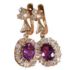 Gorgeous Antique European 18k Amethyst and Diamond Earring c.1910
