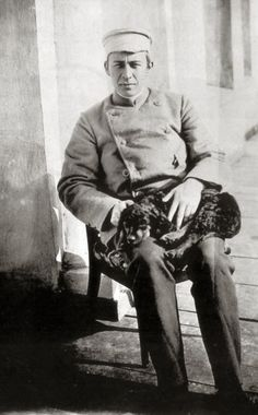 composer Sergei Rachmaninoff with his musicaldog.