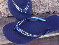 bedfbfe9ac57c8 Blue Flip Flops Crystal Havaianas Slim Navy Montana Ocean Sea w  Swarovski  Baguette Sophisticate Wedding Sandal Jewel Rhinestone Beach Shoes