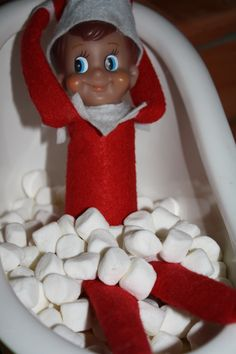 Elf on Shelf taking a Marshmallow Bubble Bath