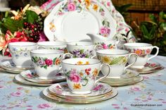 eclectic vintage Duchess bone china tea set with floral patterns