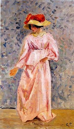 Camille Pissarro (1830-1903) : Portrait of Jeanne in a Pink Robe, 1897. Private Collection.