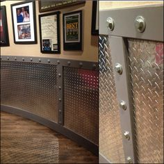 Would be great for a man cave or garage. Diamond plate, industrial sized bolts, and metal-grey painted 1x4 wood panels. *photo taken in Hash House a Go Go, Las Vegas*