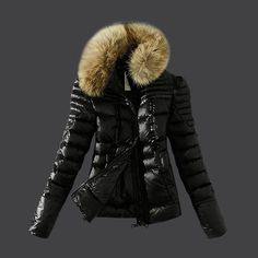 2013 New! France Moncler Womens Down Jackets Zip Fur Collar Black Outlet