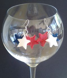 Star Cluster Wine Cork Earrings 4th of July by GulfCoasters, $11.00