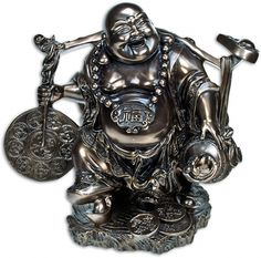 """Good Luck Charms Buddha Figurine is a representation of the enlightened entity, surrounded by lucky coins.  The Pudai Monk was a Chinese deity in the form of a Buddhist monk with a beggar's sack on his back. He is often represented as the 'Laughing Buddha"""", the Chinese equivalent of the Tibetan Maitreya - The Benevolent Buddha.  Meditating with a Buddha creates great therapeutic energy, which is useful for healing oneself and others."""