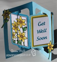 get well soon (with glittered sunflowers panel) card by Donna Wright