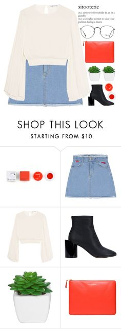 """""""moments"""" by evangeline-lily ❤ liked on Polyvore featuring Korres, Elizabeth and James, Maison Margiela, Comme des Garçons, Ray-Ban, rayban, denimskirt, CommeDesGarcons and Spring2017"""