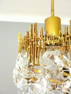 Brutalist Chic Deckenlampe Messing Kristall Lüster 50er 60er Bakalowits /  Palwa? | EBay