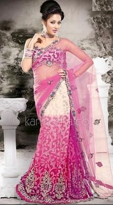 Aesthetic Deep Pink Embroidered Saree
