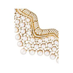 Chanel Collerette Pearl Diamond Collar Necklace (1.329.925 BRL) ❤ liked on Polyvore featuring jewelry, necklaces, collar jewelry, round necklace, chanel necklace, baguette jewelry and 18 karat gold necklace
