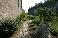 rock path in garden