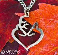 Wish | Buck and Doe Heart Necklace Kissing Half Dollar, hand cut coin