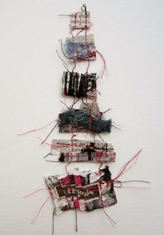 Memory Threads - by Emma Parker (Stitch Therapy). Framed work on Etsy. Stitching On Paper, Conceptual Drawing, Art Therapy Activities, Fabric Journals, Textile Fiber Art, Textiles, Expressive Art, Sewing Art, Mark Making