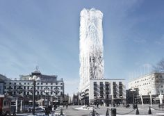 """""""Hairy"""" skyscraper would generate electricity with piezo-electric straws. Retrofit would turn an old tower into an urban power plant. #woah"""