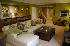 Love this green, could be a compromise between the ultra girly basement I want and the man cave the husband wants