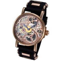 Rougois Rosarita Gold Mechanical Skeleton Watch - Silicone Band ($250) ❤ liked on Polyvore featuring jewelry, watches, blue gold jewelry, silicone jewelry, gold jewellery, gold jewelry and silicon watches