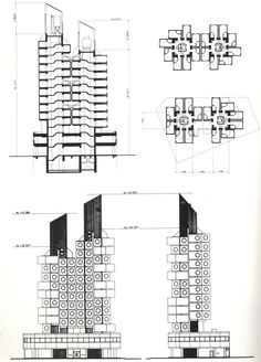 MORE ABOUT: Nakagin Capsule Tower (central bank Capsule Tower) Ginza Chuo-ku, Tokyo, Japan Construction Dates: [Design Conception] October 1969 - December 1970 [Fabrication] January 1971 - March 197 . Architecture Concept Drawings, Japanese Architecture, Architecture Plan, Floating Architecture, Classical Architecture, Tower Building, Building Design, Metabolist, Nakagin Capsule Tower