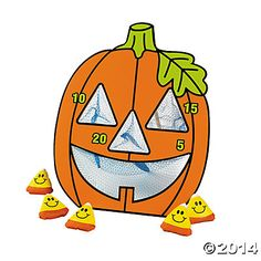 """Jack-O'-Lantern Bean Bag Toss Game - make one myself but make eyes bigger than this 4"""" size and choose non-stiff netting for back of holes. LOVE the candy corn bean bags!!"""