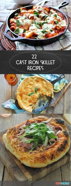 22 Cast Iron Skillet Recipes   You'd be amazed what you can make in your trusty old cast iron skillet! Everything from Beet and Blue Cheese Risotto to Roasted Red Pepper and Feta Scones to pizza and even lasagna! Learn how with this collection of tasty recipes! #familydinner #healthymeals