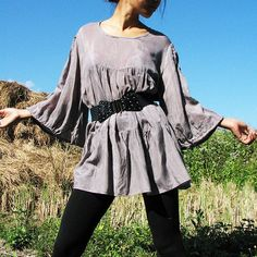 The woman in me blouse...Gray mix silk LXL by cocoricooo on Etsy, $40.00