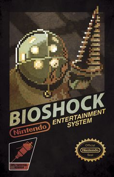 Bioshock /by Pauline Acalin I need this as wall art for my game room. Video Game Rooms, Video Game Art, Bioshock Game, Nintendo, Art Diy, Bioshock Infinite, Nes Games, Box Art, Pixel Art