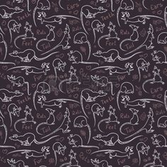 Seamless pattern with cute doodle rats