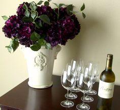 Plum Hydrangeas in Cream Ceramic Vase - Flower Arrangement