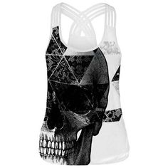 1bd0473c765d04 Gothic Style Women Top Fitness Camis Tank Tops Black and White Skull 3D Printed  Sleeveless T