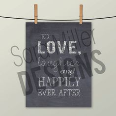 INSTANT DOWNLOAD PRINTABLE Wedding sign with by SaraMillerDesigns on Etsy.com Happily Ever After, Wedding Signs, Chalkboard, Printables, Rustic Weddings, Handmade Gifts, Etsy, Wedding Plaques, Kid Craft Gifts