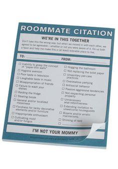 Roommate Citation Notepad