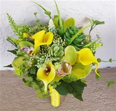 Yellow Callas and Succulents Natural Touch Bouquet but with orange calla lilies