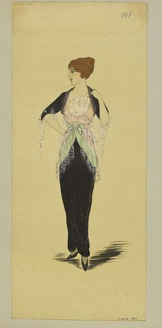 Winter 1913 Black evening dress with pale pink and pistachio green tunic, white lace trimming. | Jeanne Paquin | V&A Search the Collections
