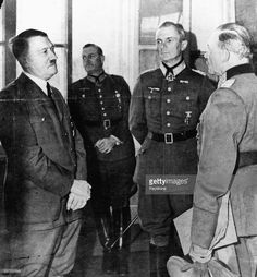 Adolf Hitler talking to (L-R) General Guderian, Field Marshal Von Bock and Field Marshal Keitel, prior to the German Crisis, July