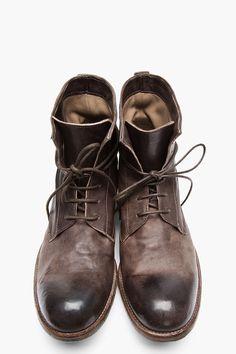 OFFICINE CREATIVE Dark Brown Polished Leather Shine Boots