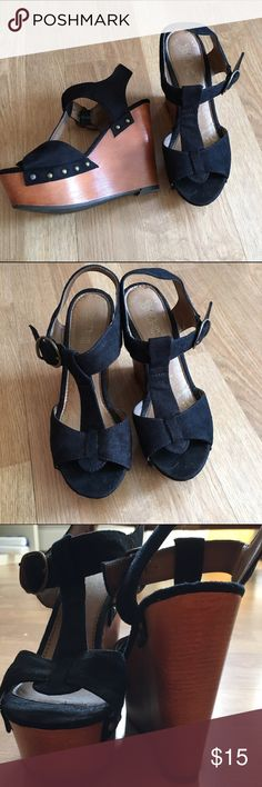 Black high wedges Worn twice, great condition. Black studded Brash wedges. Selling not trading. Negotiations are welcome. Message me with any questions. Thank you! Shoes Wedges