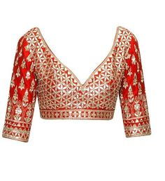 The color of this blouse is redand fabric is silk.This red color blouse is heavily embroidered with gotta patti.This blouse can be customized in any color wi