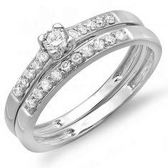 0.40 Carat (ctw) 10k White Gold Round Diamond Ladies Bridal Ring Engagement Matching Band Wedding Set