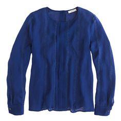 Pleated lace-stripe silk blouse | jcrew
