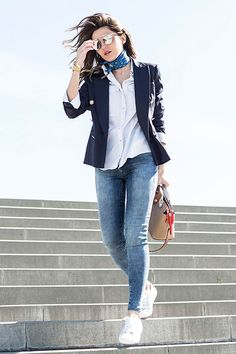 Street style - The Top Blogger Looks Of The Week: Fashion Blogger 'Lovely Pepa' wearing a navy blazer, a navy bandana, a white shirt.
