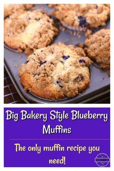 Blueberry Streusel Muffins, Homemade Blueberry Muffins, Blueberry Recipes, Blue Berry Muffins, Blueberries Muffins, Blueberry Muffin Top Recipe, Bakery Style Blueberry Muffins Recipe, Blueberry Pies, Crumb Topping Recipe